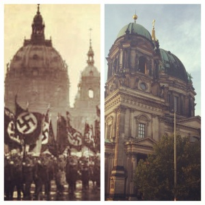 The Berlin Cathedral in Lustgarten, during WWII and today.
