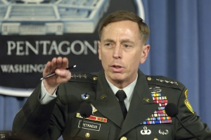 U.S. Army Gen. David H. Petraeus, the commander of Multi-National Force – Iraq, briefs reporters at the Pentagon April 26, 2007, on his view of the military situation in Iraq.