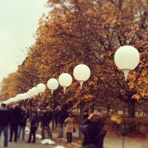 Balloons illuminate the path where the Berlin Wall once stood