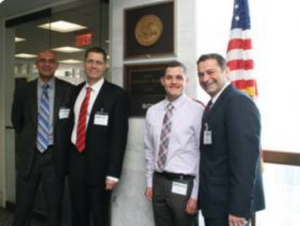Colin Blevins (second from right) with OutServe staff and members advocating against the Defense of Marriage Act in Washington, D.C. 2012.